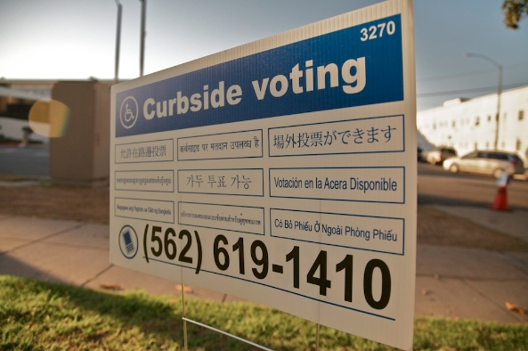 Curbside voting sign