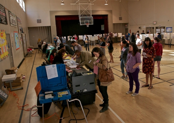 Voting in a gymnasium