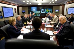 Jan. 23, 2009 ÒThe President meets with his national security and intelligence team in the Situation Room of the White House for the first time.Ó (Official White House photo by Pete Souza)  This official White House photograph is being made available only for publication by news organizations and/or for personal use printing by the subject(s) of the photograph. The photograph may not be manipulated in any way and may not be used in commercial or political materials, advertisements, emails, products, promotions that in any way suggests approval or endorsement of the President, the First Family, or the White House.