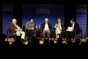 Abraham Lowenthal, David Dayen, Darry Sragow, Peter Richardson, and Joe Mathews at Zócalo at the Autry
