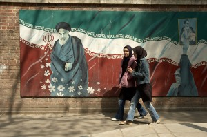 A portrait of Ayatollah Khomeini outside the former U.S. Embassy in Iran