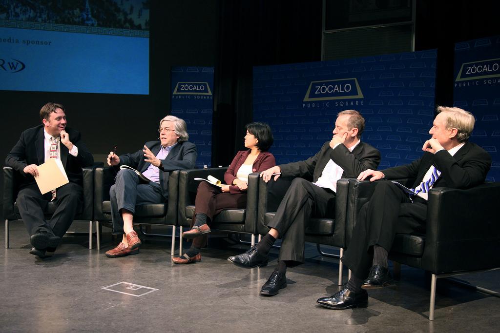 Joe Mathews, Andreas Gross, Kathay Feng, Bruno Kaufmann, and George Kieffer at Zócalo