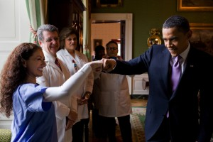 President Barack Obama fist-bumps a medical professional in the Green Room of the White House, prior to the start of a health care event, March 3, 2010. (Official White House Photo by Pete Souza)  This official White House photograph is being made available only for publication by news organizations and/or for personal use printing by the subject(s) of the photograph. The photograph may not be manipulated in any way and may not be used in commercial or political materials, advertisements, emails, products, promotions that in any way suggests approval or endorsement of the President, the First Family, or the White House.   This official White House photograph is being made available only for publication by news organizations and/or for personal use printing by the subject(s) of the photograph. The photograph may not be manipulated in any way and may not be used in commercial or political materials, advertisements, emails, products, promotions that in any way suggests approval or endorsement of the President, the First Family, or the White House.