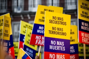 A protest against FARC