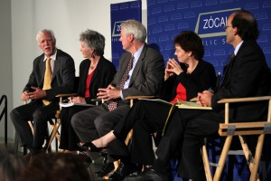 Lucien Wulsin, Jan Spencley, John Arensmeyer, Marian Mulkey, and Duke Helfand at Zócalo at NPR West