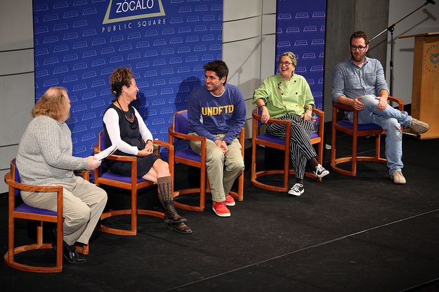 Jonathan Gold, Nancy Silverton, Ludo Lefebvre, Susan Feniger, and Ilan Hall at Zócalo