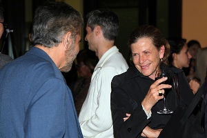 Mia Lehrer at the reception with a guest