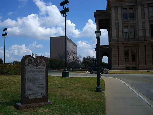 The Ten Commandments displayed in Austin, Texas