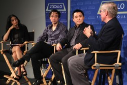 Indu Subaiya, Thomas Lee, Francis Kong, and Dave de Bronkart at Zócalo at NPR West