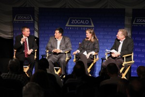 John Deasy, Oscar Cruz, Karen Hunter Quartz and Louis Freedburg at Zócalo at the Downtown Independent