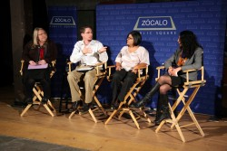 Connie Kruzan, Mark Regnerus, Francisca Angula-Olaiz, and Emily Bazar at Zócalo at Artshare