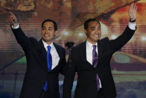 Julian Castro, Mayor of San Antonio, Texas, waves with his brother Joaquin during the first day of the Democratic National Convention in Charlotte