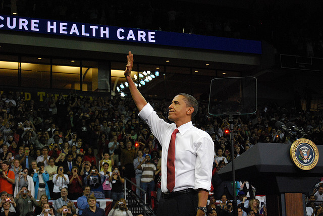 President Obama at a healthcare reform rally