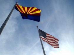 Flags fly at Yavapai College in Prescott, Arizona.