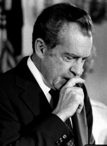 FILE PHOTO 9AUG74 - Former U.S. President Richard M. Nixon gives his farewell speech to members of h..