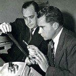 Richard Nixon reads microfilm