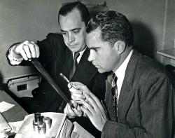 Richard Nixon reads microfilm
