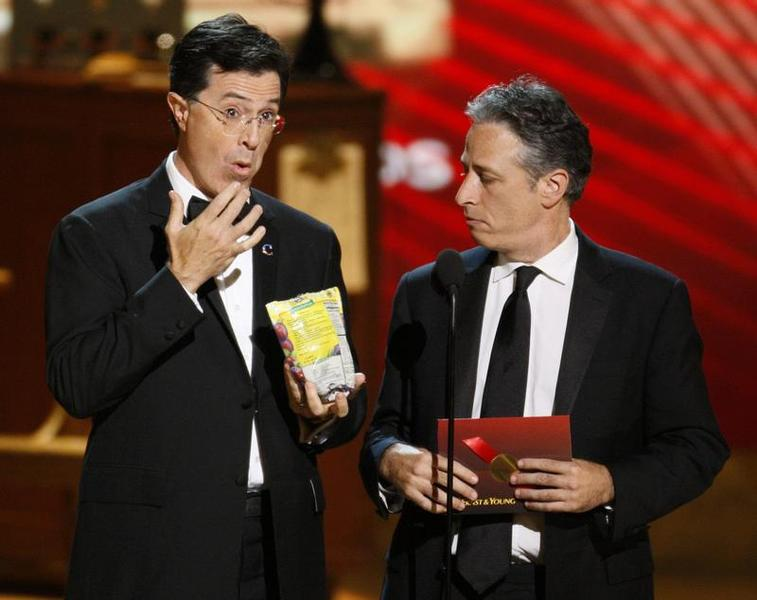 Colbert and Stewart present award at 60th annual Primetime Emmy Awards in Los Angel
