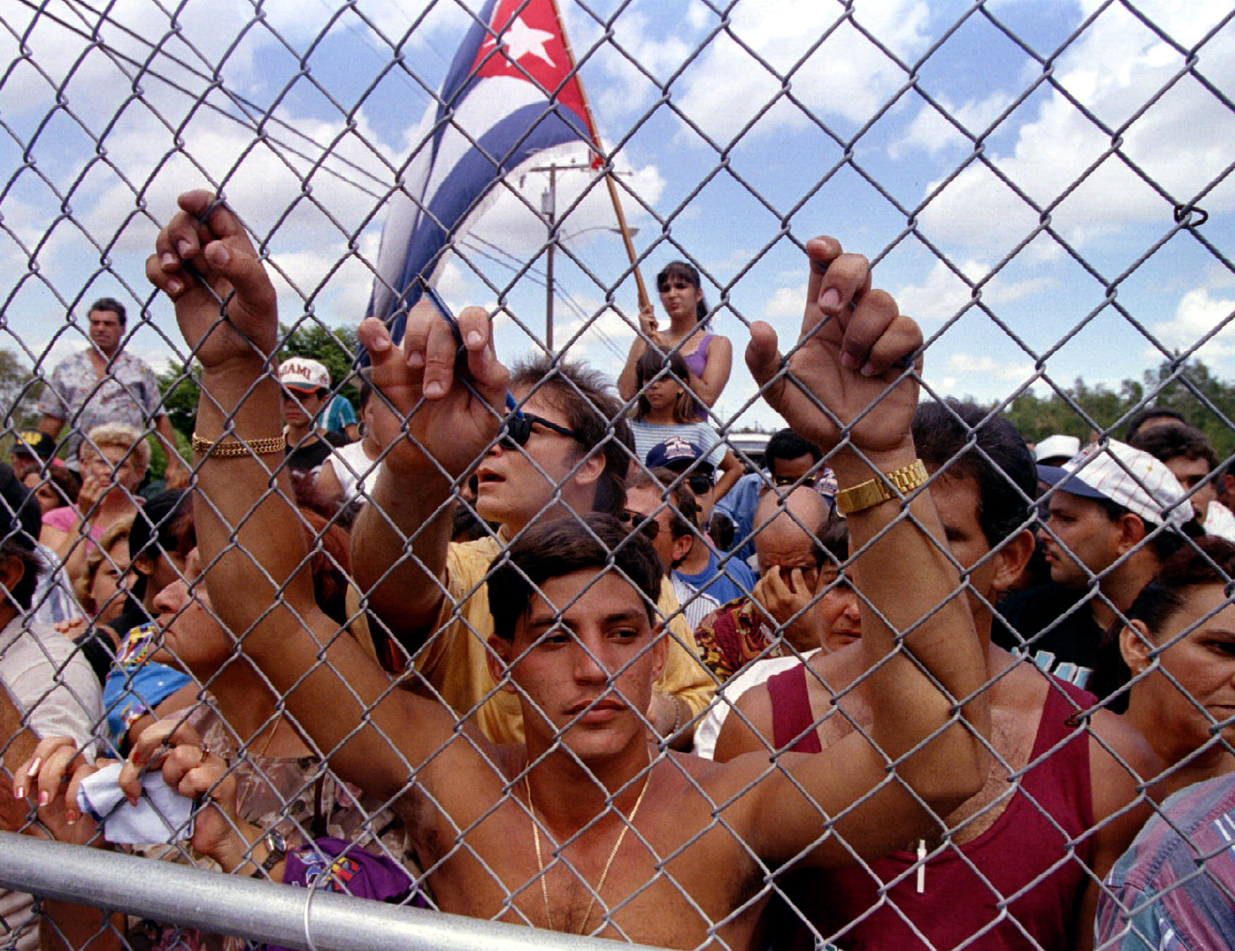Family members of Cuban refugees wait outside the Krome Detention Center southwest of Miami August 2..