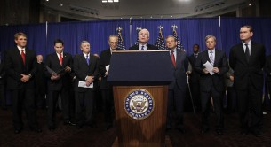 "U.S. Senate's ""Gang on Eight"" are pictured during a news briefing on Capitol Hill in Washington"