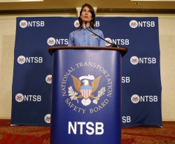 National Transportation Safety Board Chairwoman Deborah Hersman speaks during a news conference in south San Francisco