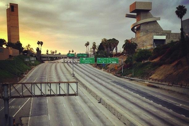 Empty Los Angeles freeway