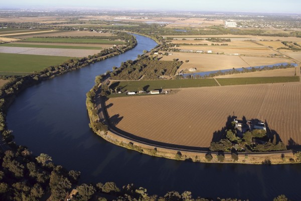 Aerial view shows the Sacramento San Joaquin River Delta near Isleton, California