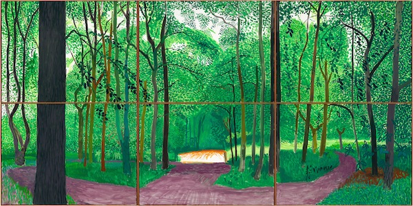 "Hockney goes green at the de Young Museum in ""Woldgate Woods, 26, 27 & 30 July 2006."""