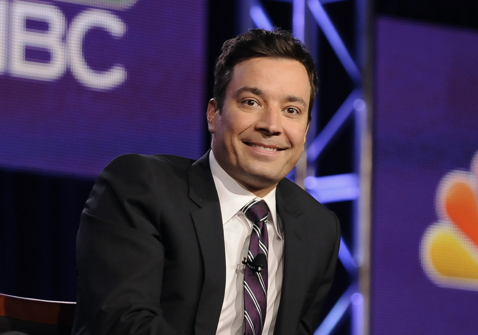 Jimmy Fallon takes part in a panel discussion at the NBC portion of the 2014 Winter Press Tour for the Television Critics Association in Pasadena