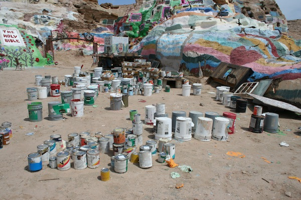 Paint cans at Salvation Mountain