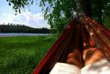 Reading on a hammock