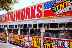 A fireworks stand in Alhambra at the border of L.A. and South Pasadena
