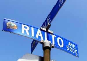 Rialto CA street sign
