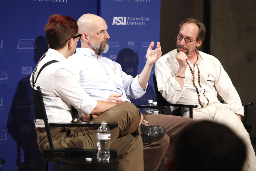 Annalee Newitz, Neal Stephenson, Lawrence Krauss
