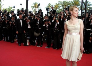 """U.S. actress Scarlett Johansson poses during red carpet arrivals for screening of """"Match Point"""" at ..."""