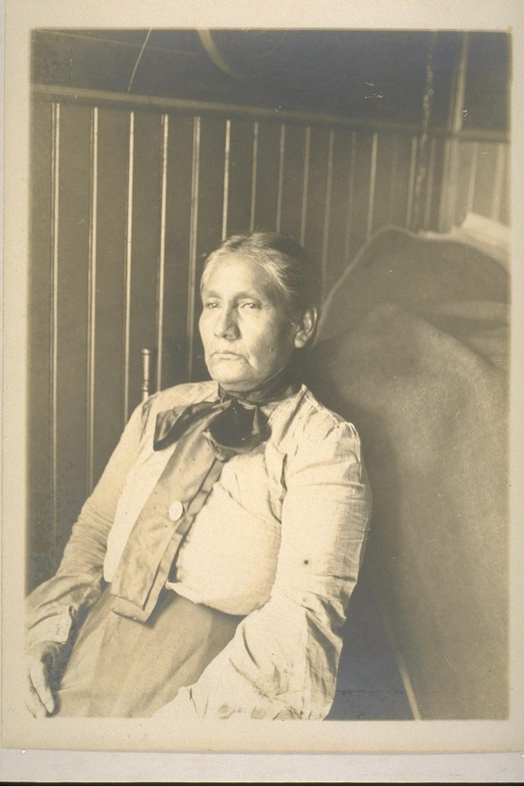 A Tongva woman named Mrs. James V. Rosemeyre, Bakersfield, July 1905. Image courtesy UC Berkeley, Bancroft Library