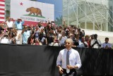 U.S. President Barack Obama walks out to talk about the economy while at Los Angeles Trade Technical College in California