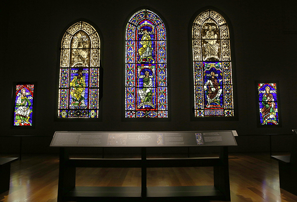 Installation view of stained glass windows from Canterbury Cathedral in Canterbury and St. Albans (at the Getty Center, September 20, 2013 to February 2, 2014). Stained glass courtesy of Dean and Chapter of Canterbury.