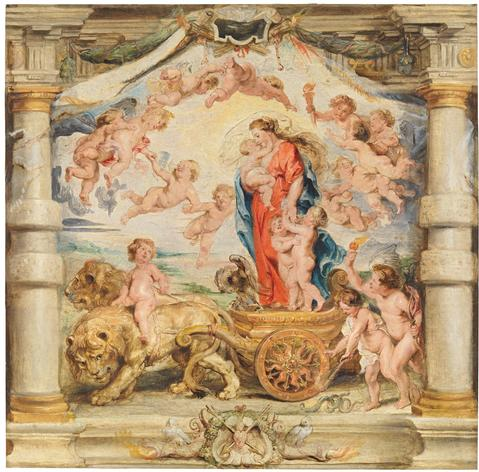 """Triumph of Divine Love,"" After Designs by Peter Paul Rubens, wool & silk, 1626-33. PATRIMONIO NACIONAL, Monasterio de las Descalzas Reales Image"
