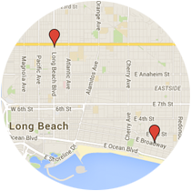Map: Long Beach Boulevard to East Broadway