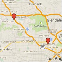 Map: Sunset Boulevard to Ventura Boulevard