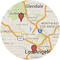Map: Wilshire Boulevard to Los Feliz Boulevard