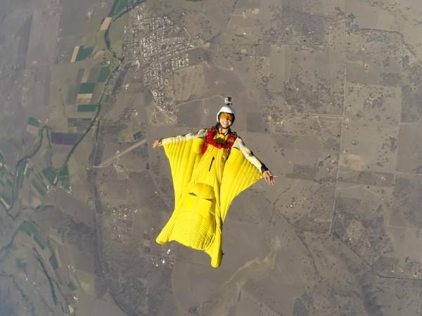 The author flying over Toogoolawah, Australia