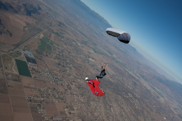 "Flying with high-performance canopy pilot Jessica Edgeington in a discipline the author pioneered called XRW (""Extreme Relative Work""). Advances in skill and technology have allowed a wingsuit flyer in freefall to match speeds with a pilot under a fully open parachute."