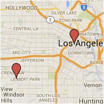 Map: Santa Rosalia Drive to Flower Street
