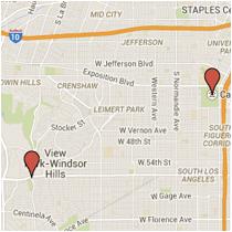 Map: La Brea Avenue to Hoover Street