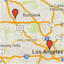 Map: Olvera Street to Chandler Boulevard