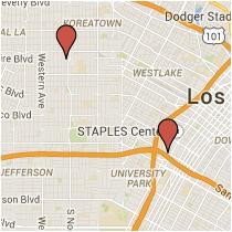 Map: Wilshire Boulevard to Venice Boulevard