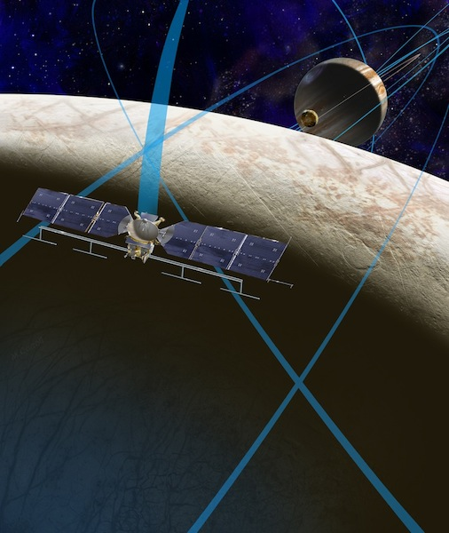 An artist's rendering of a future NASA mission to Europa in which a spacecraft would make multiple close flybys of the icy moon of Jupiter