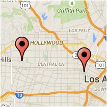 Map: La Brea Avenue to Alvarado Street